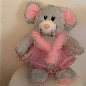 Build a bear grey mouse in a pink tutu